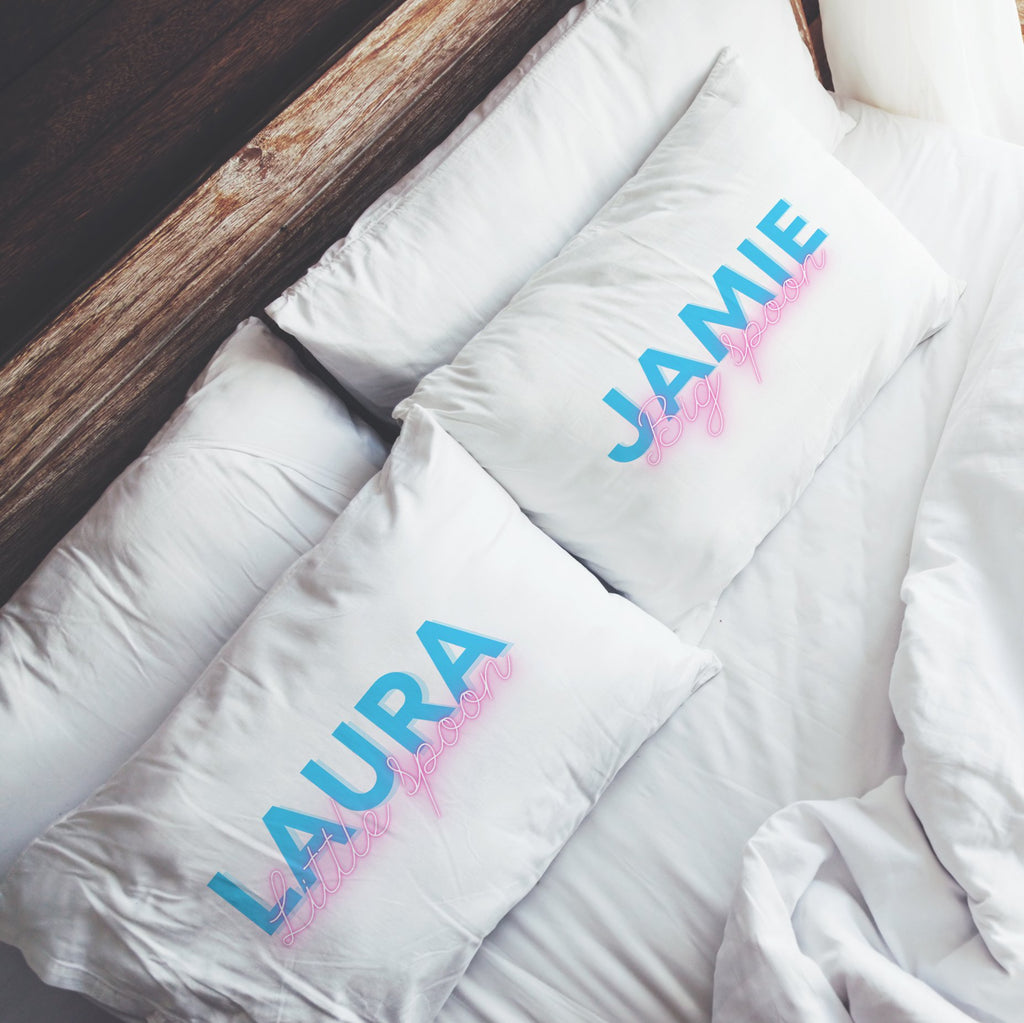 Personalised Neon Big Little Spoon Pillowcases Pillowcase MBT