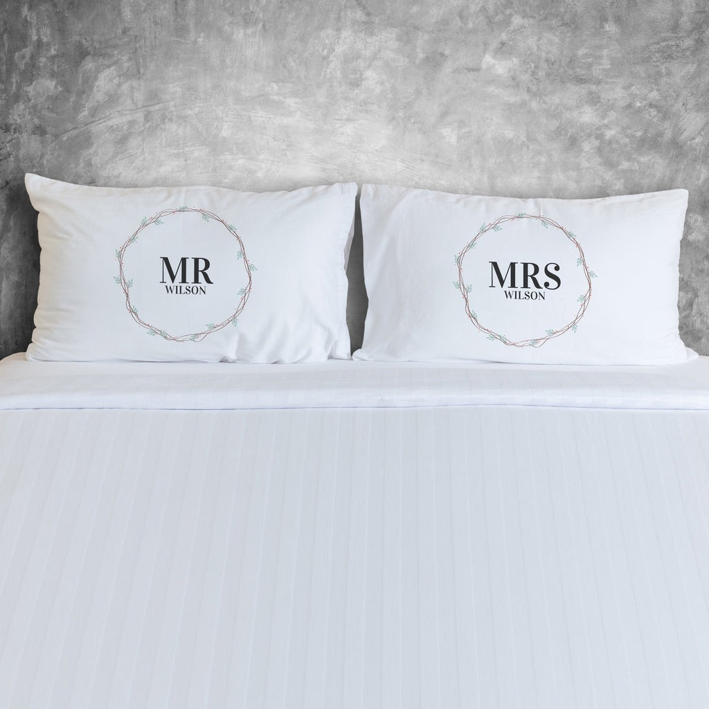Personalised Simple Wreath Couples Pillowcases Pillowcase MBT