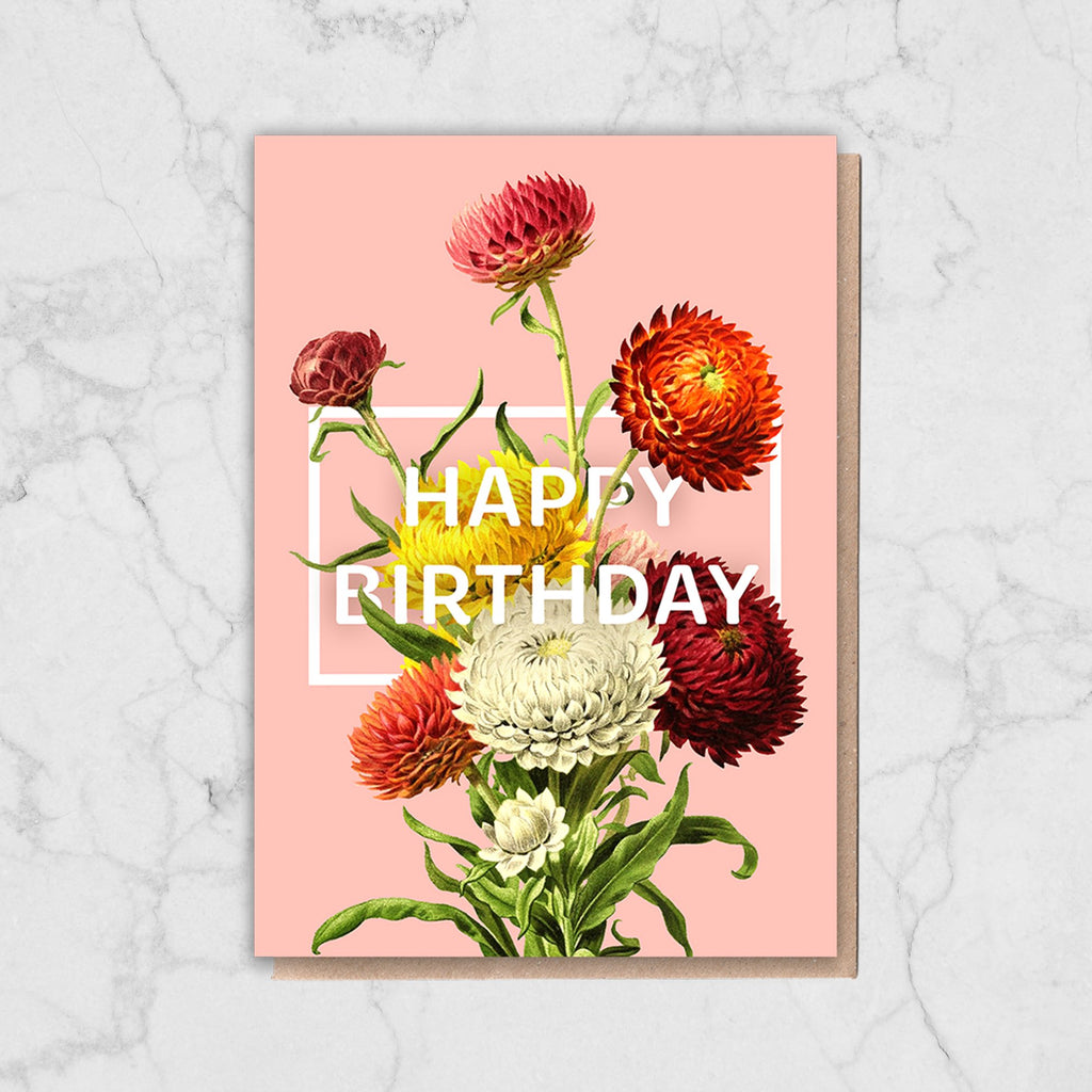 Pink Floral Birthday Card Greetings Card ALLPOP