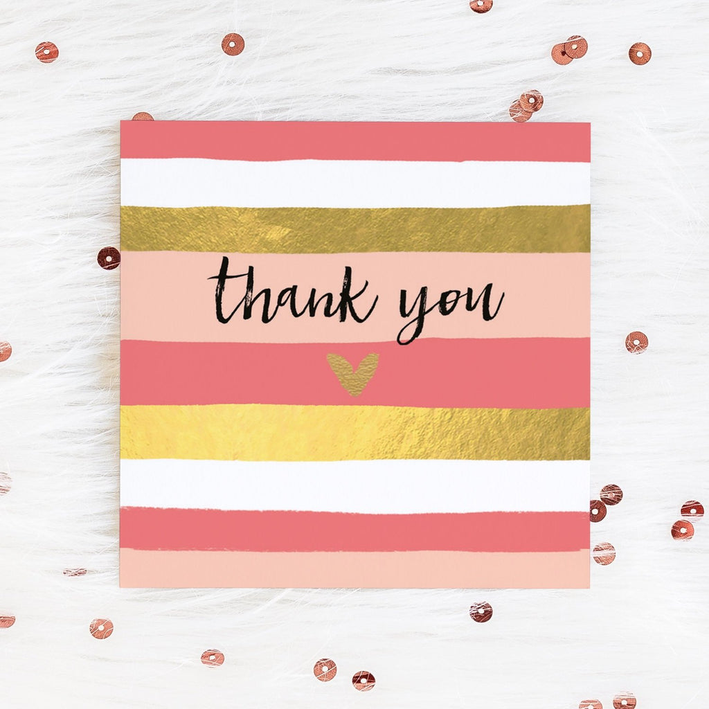 Pink Gold Stripe Thank You Card Greetings Card ALLPOP