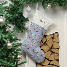 Load image into Gallery viewer, Poodle Dog Print Christmas Stocking Christmas Stocking Dog Breeds Pale Blue Snowflakes Medium