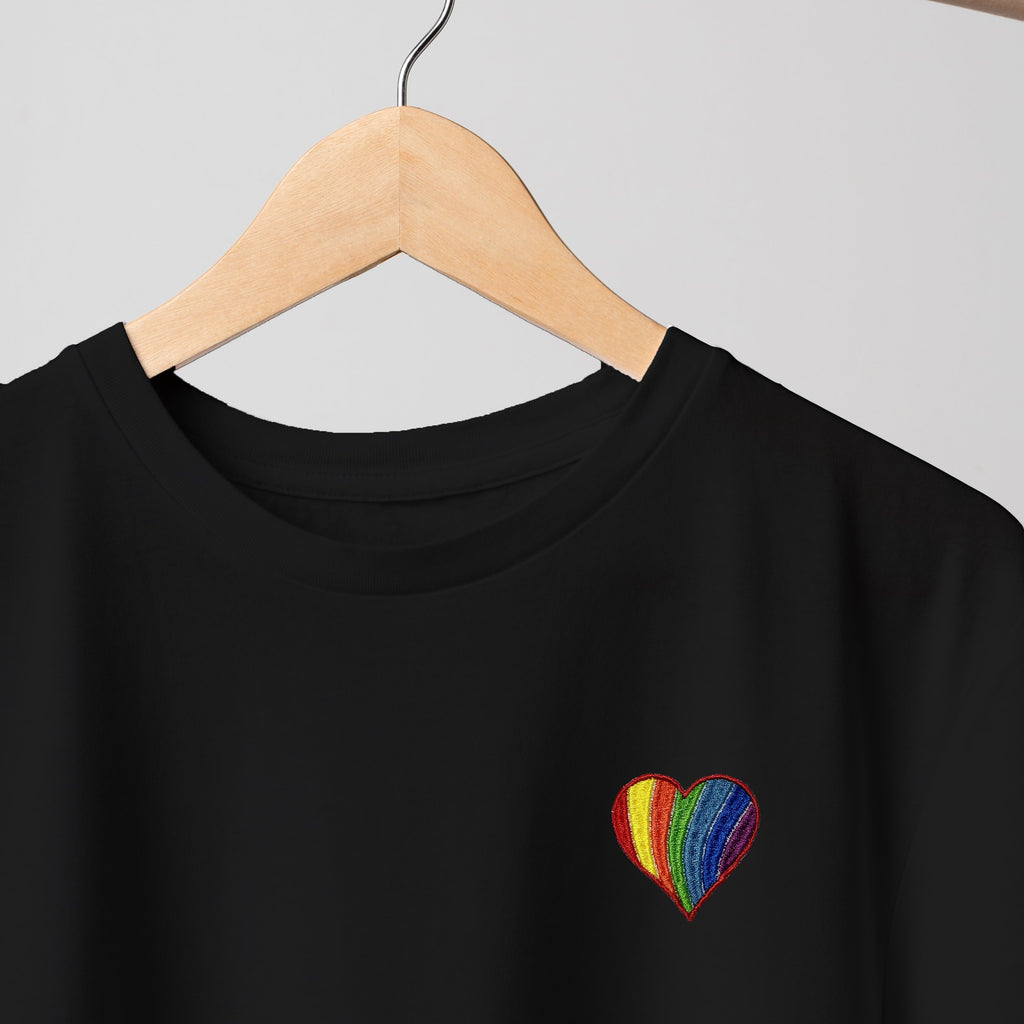 Pride Heart Embroidered Black T Shirt T-Shirt ALLPOP