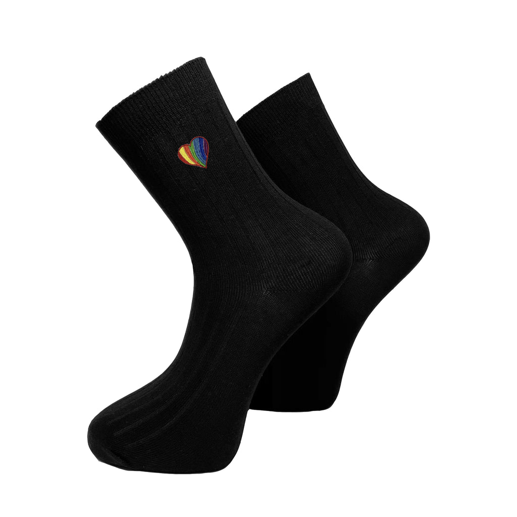 Pride Heart Socks Socks ALLPOP Black