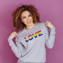 Load image into Gallery viewer, Rainbow Love Embroidered Sweatshirt Sweatshirt ALLPOP