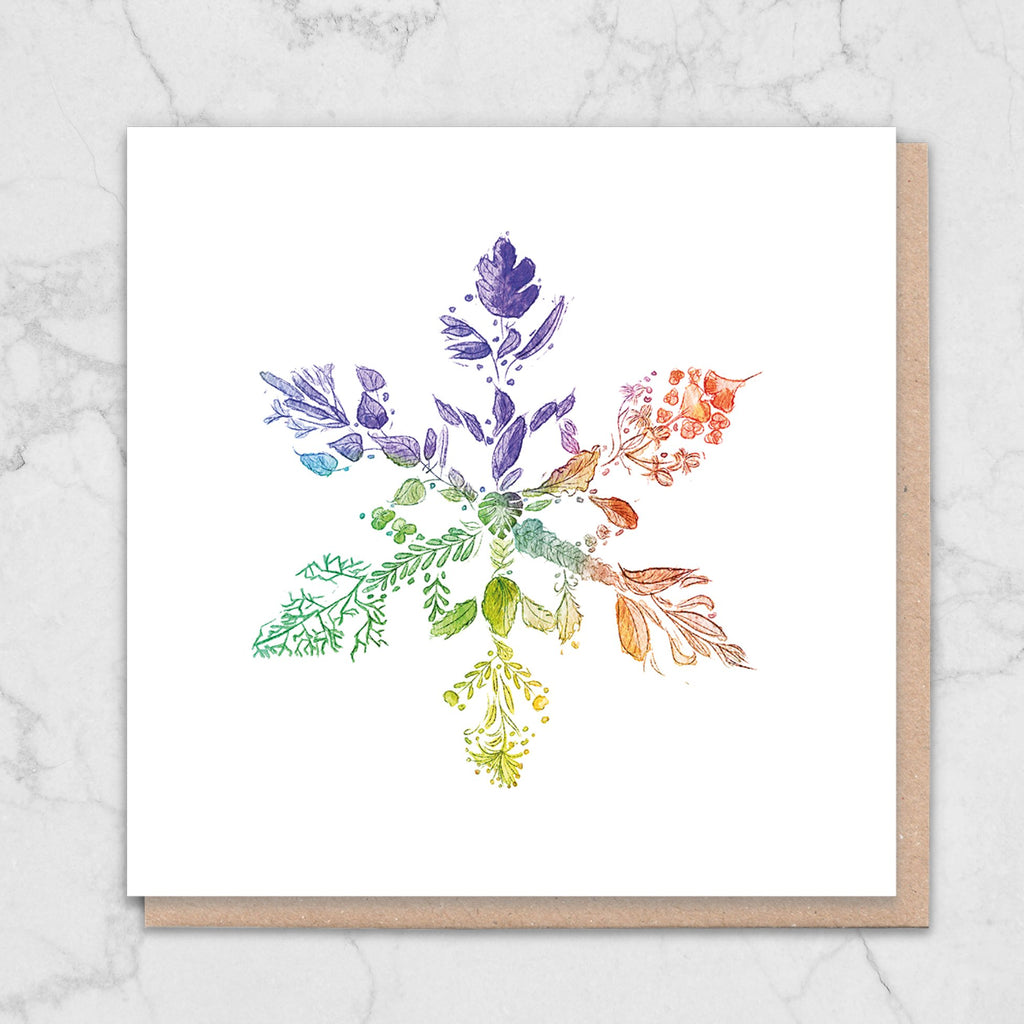 Rainbow Snowflake Nature Christmas Card Greetings Card ALLPOP
