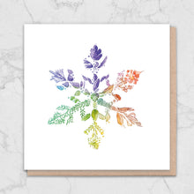Load image into Gallery viewer, Rainbow Snowflake Nature Christmas Card Greetings Card ALLPOP