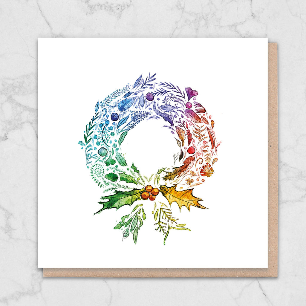 Rainbow Wreath Nature Christmas Card Greetings Card ALLPOP