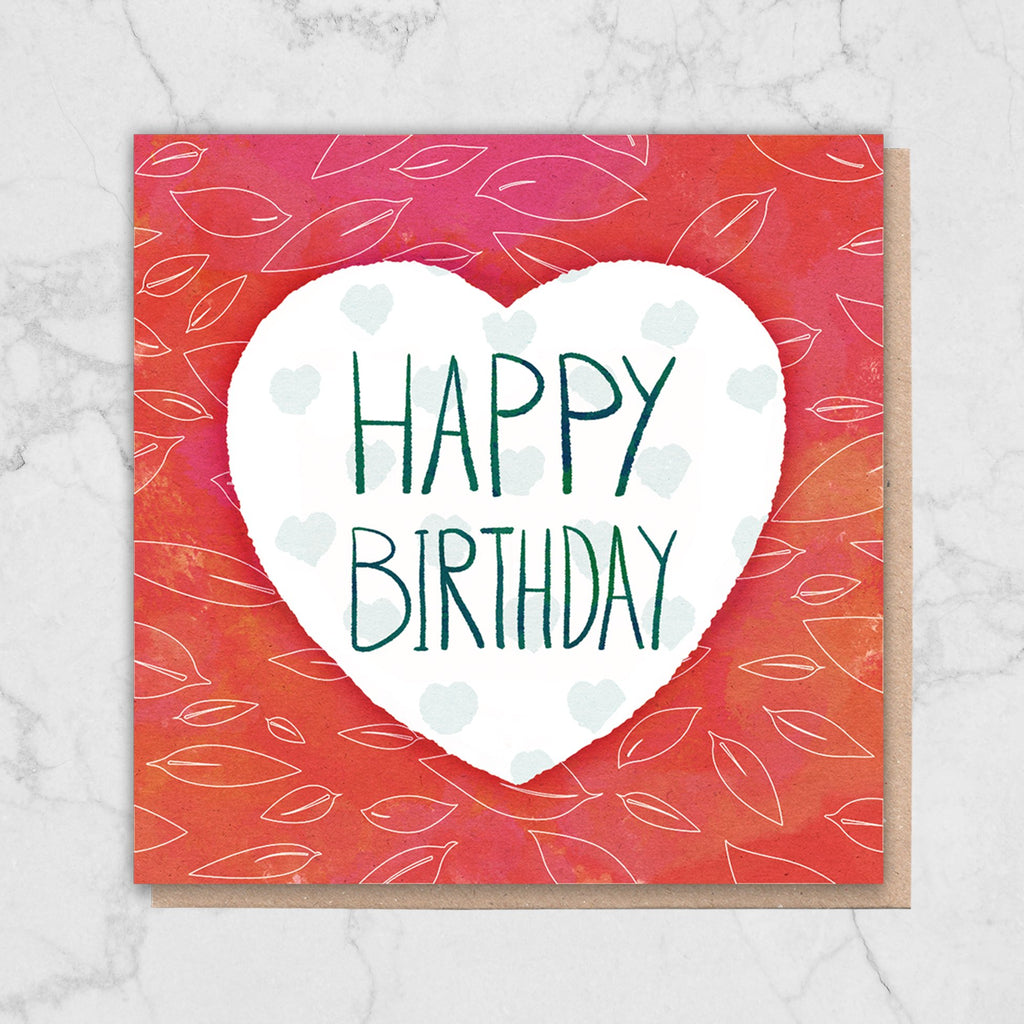 Red Heart 'Happy Birthday' Card Greetings Card ALLPOP
