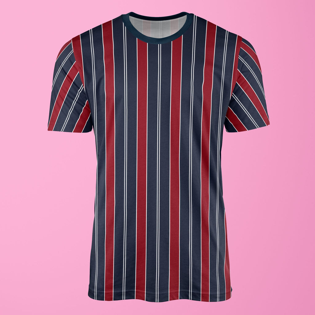 Retro Stripe Print Red/Blue T-Shirt T-Shirt Tee