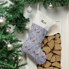Load image into Gallery viewer, Shih Tzu Dog Print Christmas Stocking Christmas Stocking Dog Breeds Pale Blue Snowflakes Medium