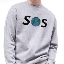 Load image into Gallery viewer, SOS Globe Embroidered Sweatshirt Sweatshirt ALLPOP