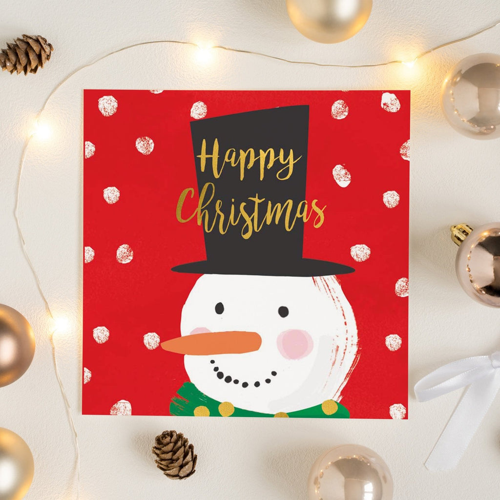 Top Hat Snowman Happy Christmas Card Greetings Card ALLPOP
