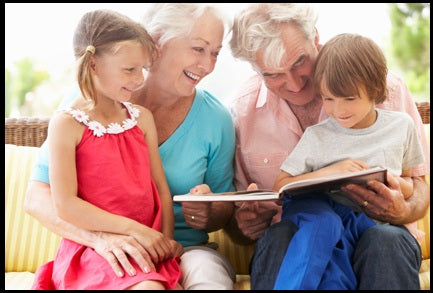 Grand parents reading stories for kids