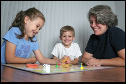 kids playing board games
