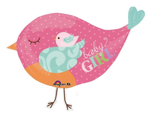 Baby Girl Announcement Balloon, Giant Tweet Bird - mumsbuddy.com