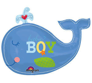 Baby Boy Announcement Balloon ,Ahoy Baby Boy Whale - mumsbuddy.com