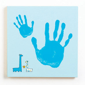 Pearhead Baby And Me Handprint Canvas Kit, Blue Giraffe - mumsbuddy.com