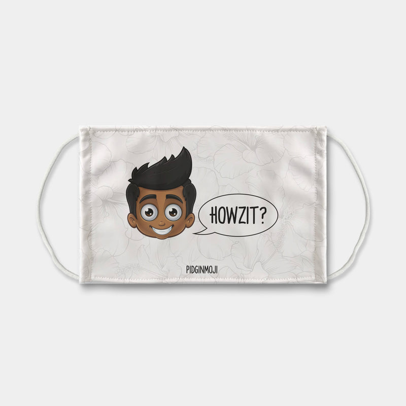 """HOWZIT?"" Men's Original PIDGINMOJI Characters Face Mask"