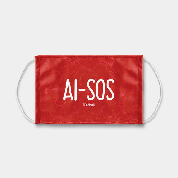 """AI-SOS"" PIDGINMOJI Face Mask (Red)"