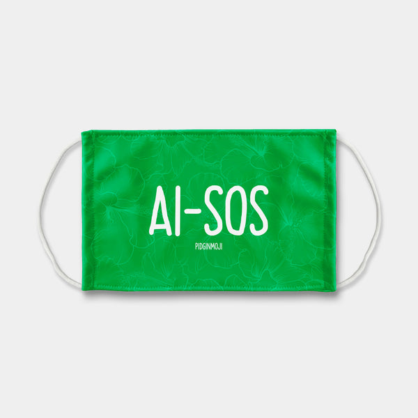 """AI-SOS"" PIDGINMOJI Face Mask (Green)"