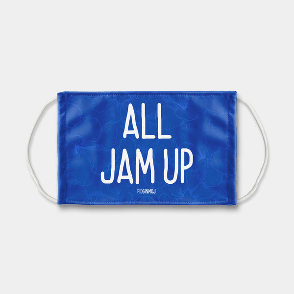 """ALL JAM UP"" PIDGINMOJI Face Mask (Blue)"