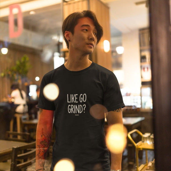 """LIKE GO GRIND?"" Men's Pidginmoji Dark Short Sleeve T-shirt"