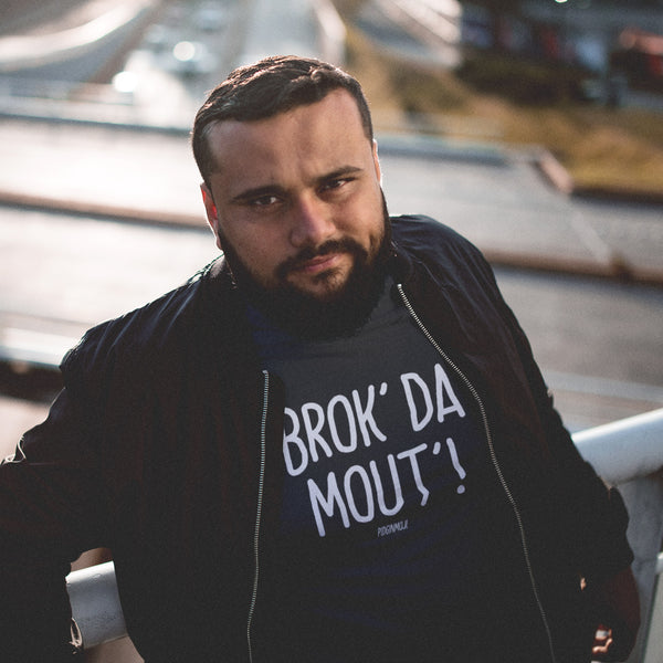 """BROK' DA MOUT'!"" Men's Pidginmoji Dark Short Sleeve T-shirt"
