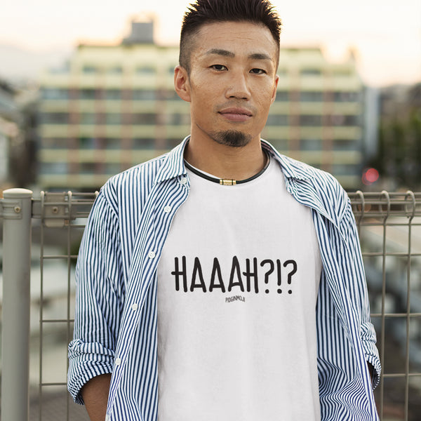 """HAAAH?!?"" Men's Pidginmoji Light Short Sleeve T-shirt"