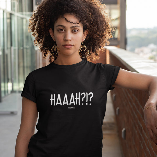 """HAAAH?!?"" Women's Pidginmoji Dark Short Sleeve T-shirt"