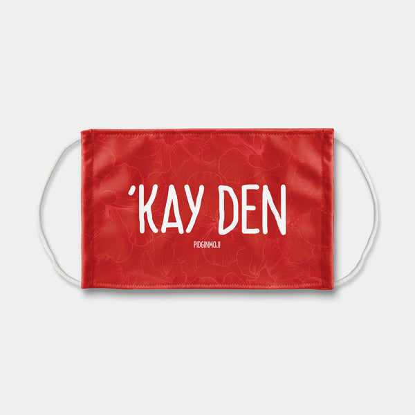 """'KAY DEN"" PIDGINMOJI Face Mask (Red)"