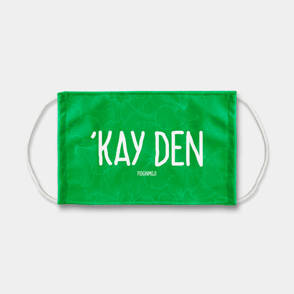 """'KAY DEN"" PIDGINMOJI Face Mask (Green)"