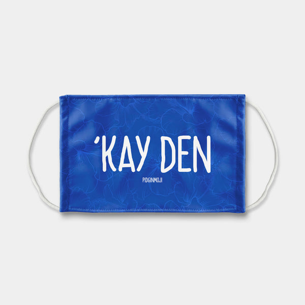 """'KAY DEN"" PIDGINMOJI Face Mask (Blue)"