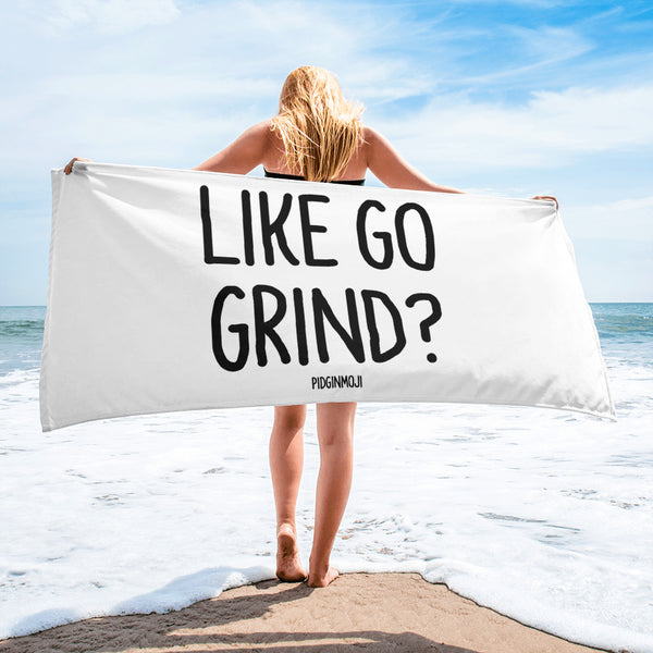 """LIKE GO GRIND? PIDGINMOJI Beach Towel"