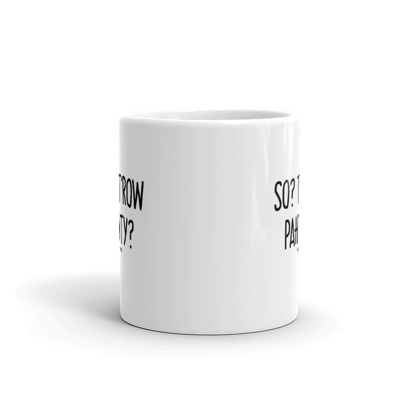 """SO? T'ROW PAHTY?"" PIDGINMOJI Mug"