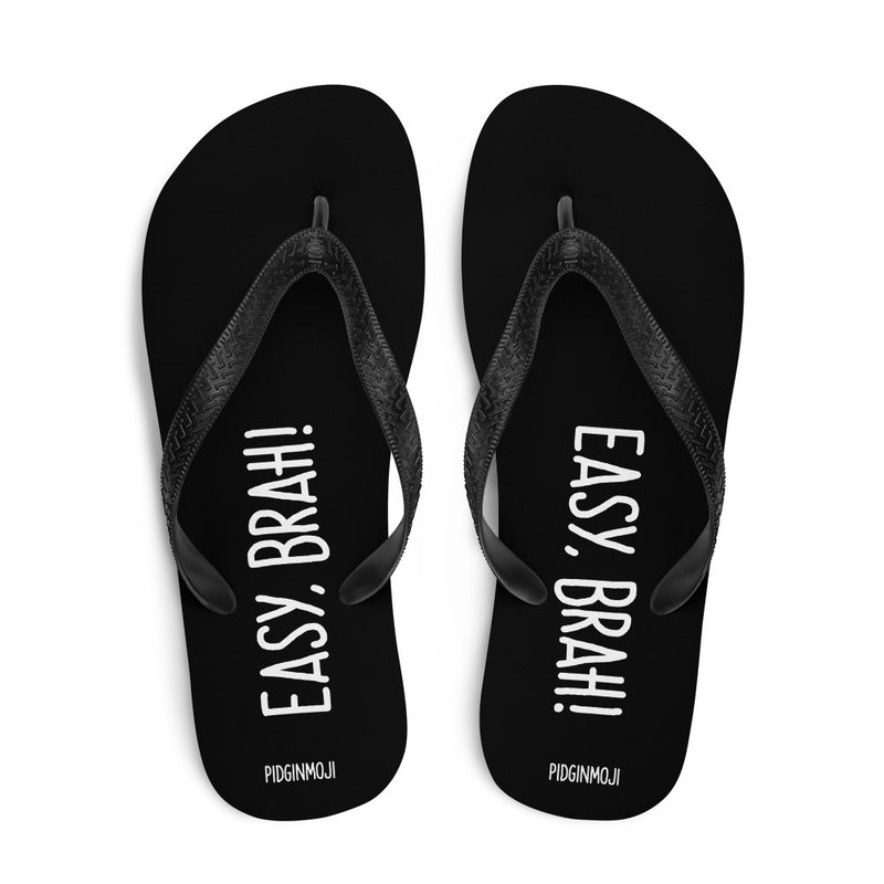 """EASY, BRAH!"" PIDGINMOJI Slippahs (Black)"