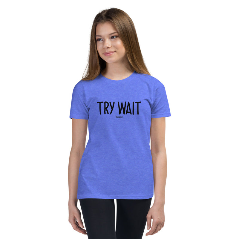 """TRY WAIT"" Youth Pidginmoji Light Short Sleeve T-shirt"