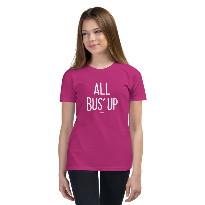 """ALL BUS' UP"" Youth Pidginmoji Dark Short Sleeve T-shirt"
