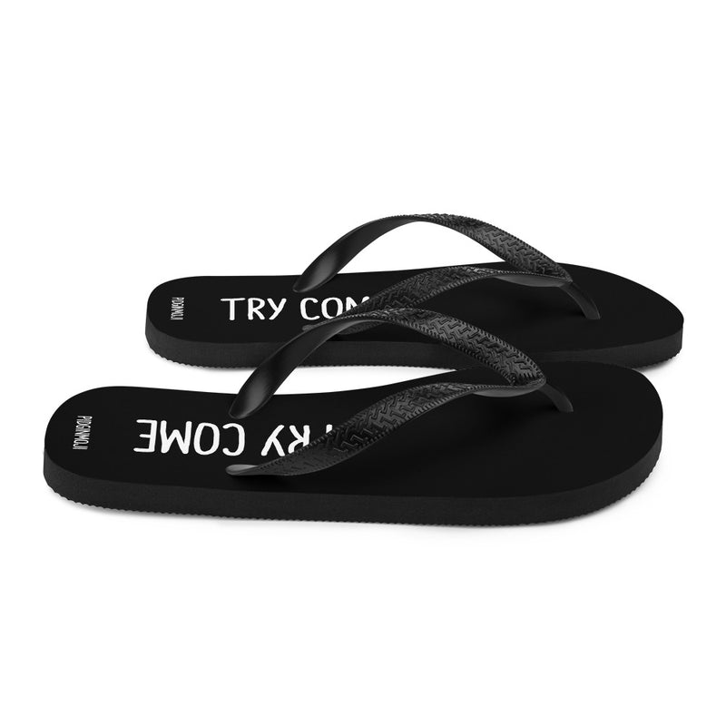 """TRY COME"" PIDGINMOJI Slippahs (Black)"