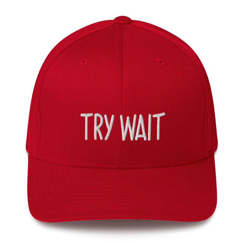 """TRY WAIT"" Pidginmoji Dark Structured Cap"