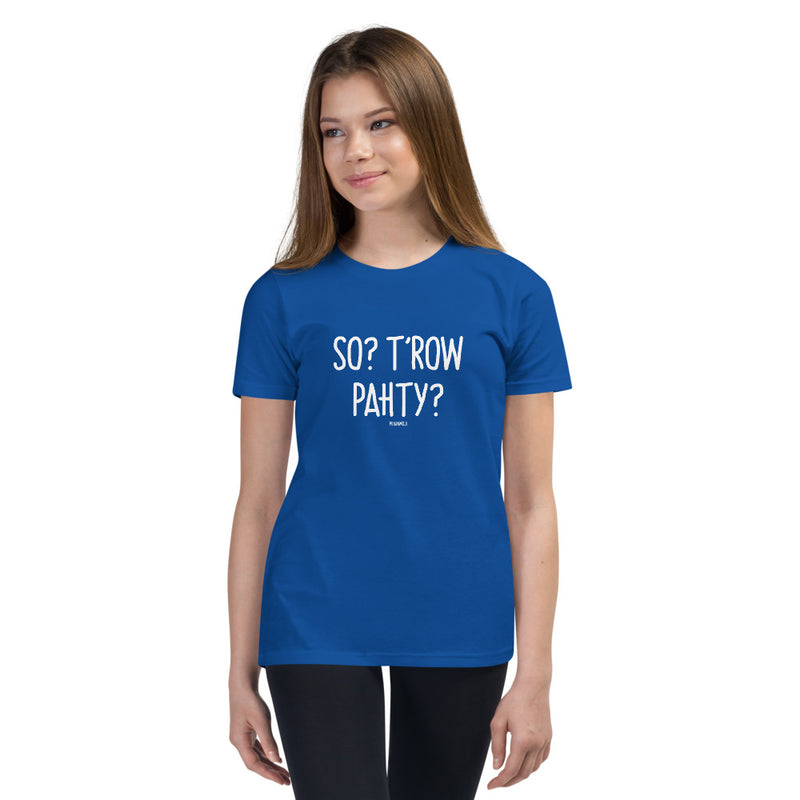 """SO? T'ROW PAHTY?"" Youth Pidginmoji Dark Short Sleeve T-shirt"