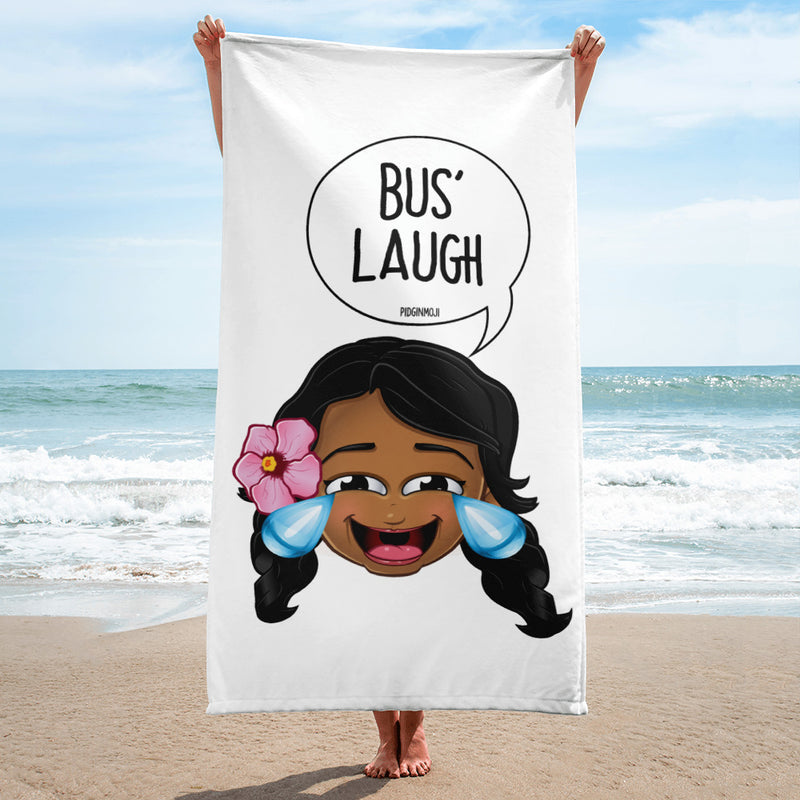 """BUS' LAUGH"" Original PIDGINMOJI Characters Beach Towel"