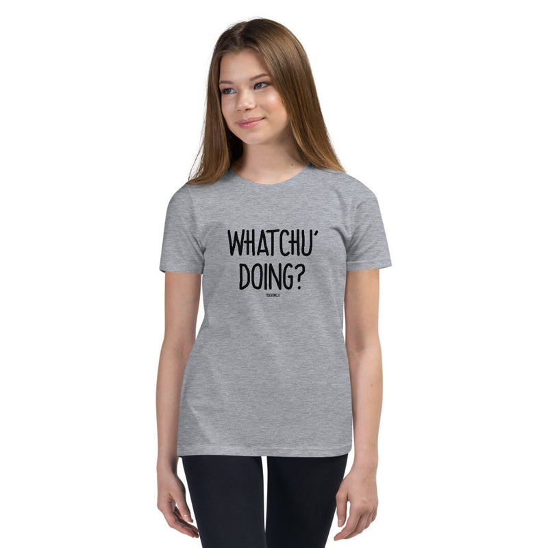 """WHATCHU' DOING?"" Youth Pidginmoji Light Short Sleeve T-shirt"
