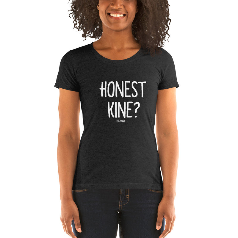 """HONEST KINE?"" Women's Pidginmoji Dark Short Sleeve T-shirt"