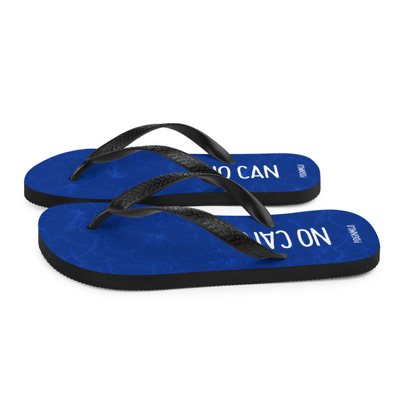 """NO CAN"" PIDGINMOJI Hibiscus Slippahs (Blue)"