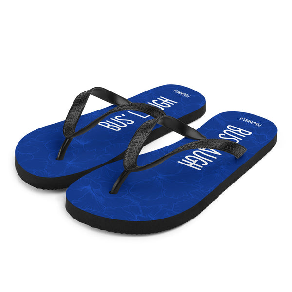 """BUS' LAUGH"" PIDGINMOJI Hibiscus Slippahs (Blue)"