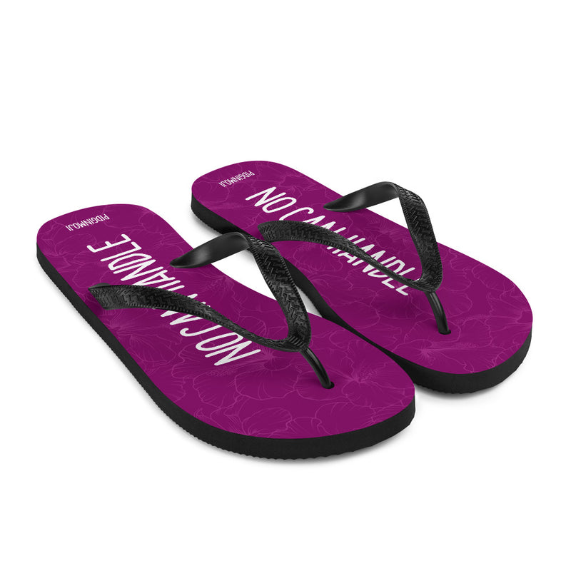 """NO CAN HANDLE"" PIDGINMOJI Hibiscus Slippahs (Pink)"