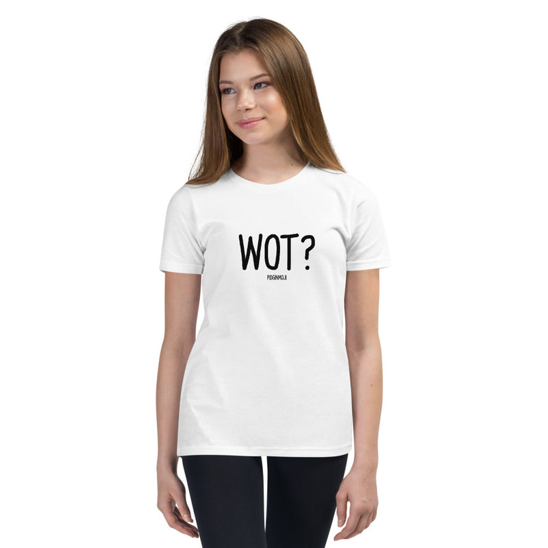 """WOT?"" Youth Pidginmoji Light Short Sleeve T-shirt"