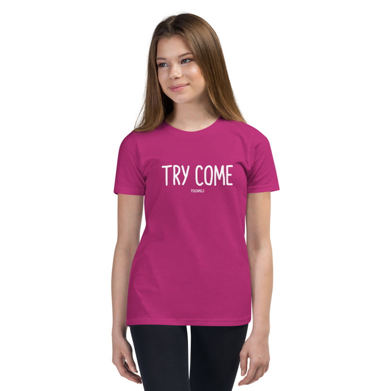 """TRY COME"" Youth Pidginmoji Dark Short Sleeve T-shirt"