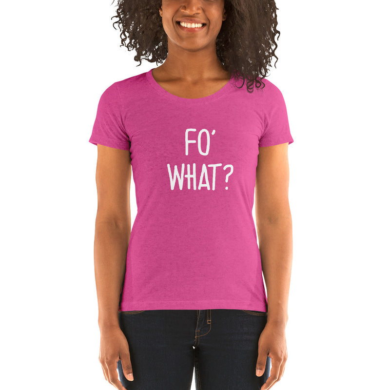 """FO' WHAT?"" Women's Pidginmoji Dark Short Sleeve T-shirt"