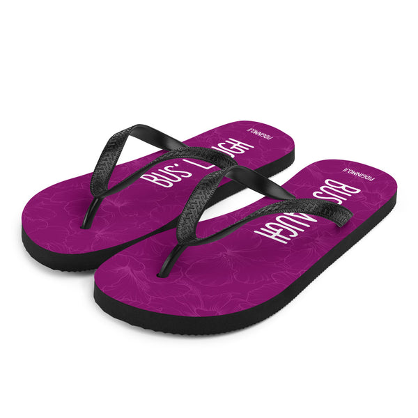 """BUS' LAUGH"" PIDGINMOJI Hibiscus Slippahs (Pink)"